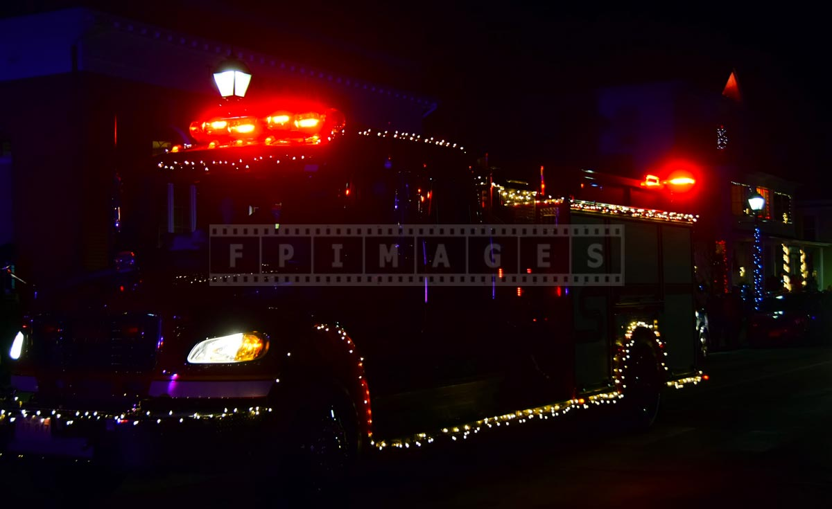 Fire truck with xmas lights at Saint Andrews Christmas parade