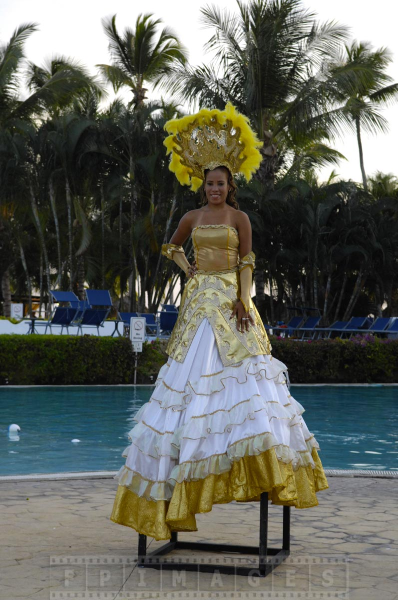 Dominican lady in a beautiful dress