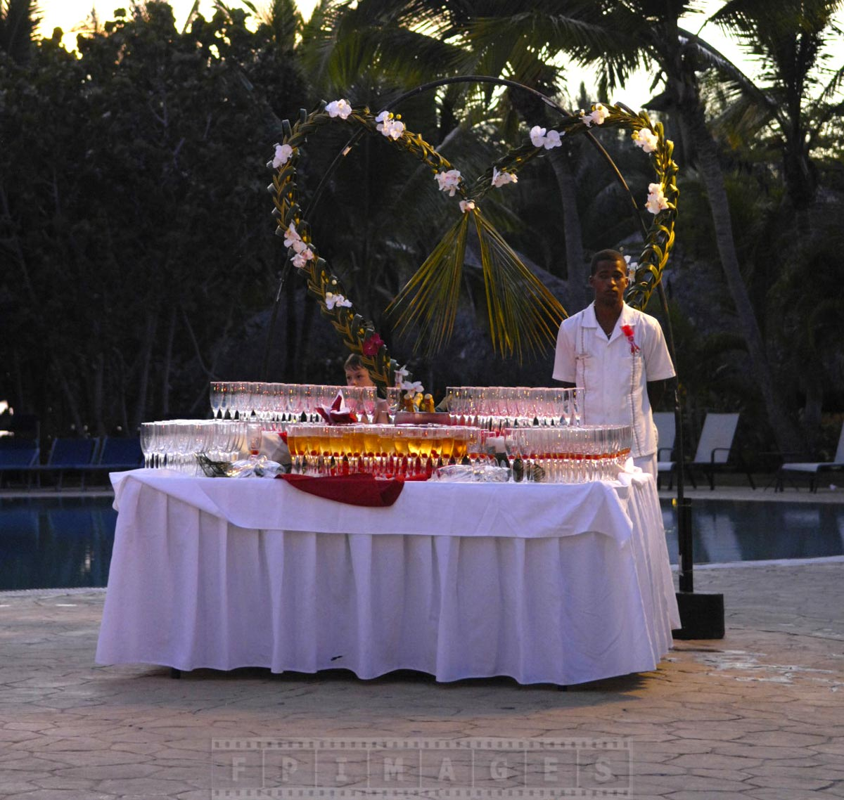 Romantic heart shaped decoration of the champagne table