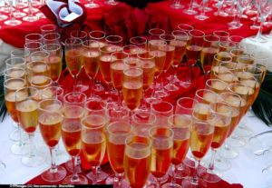 Champagne glasses arranged in the shape of heart for Valentines day