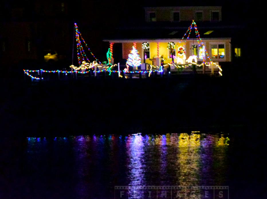 Xmas lights reflections in the Saint Andrews harbour