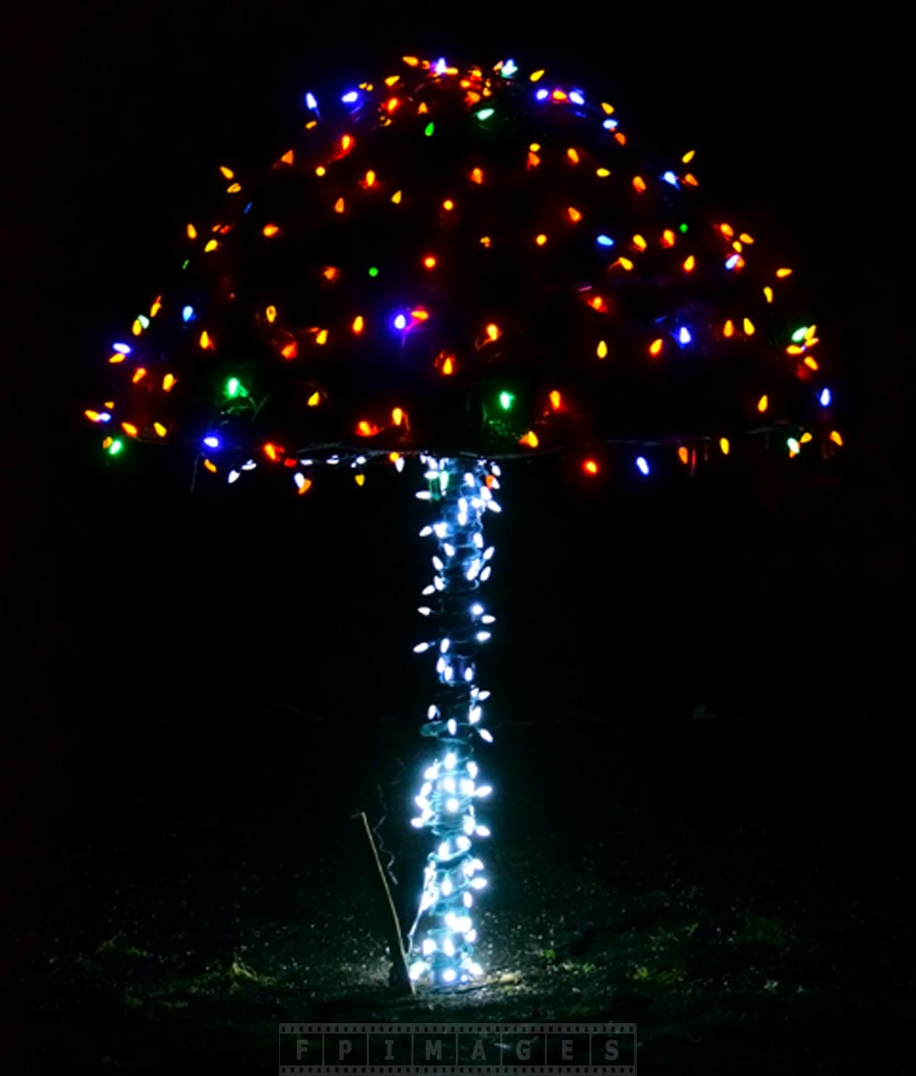 Colorful mushroom with LED Xmas lights at Garden of light in Saint Andrews, NB, Canada