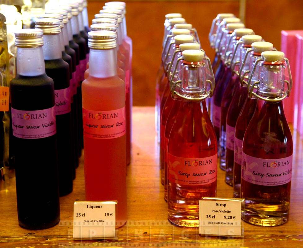 Fruit liquors and syrups made from Rose and Violette flowers, delicious !