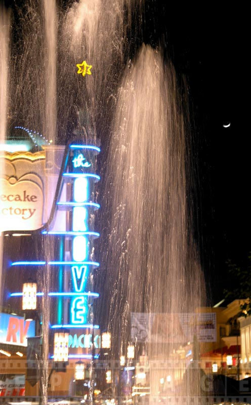 The Grove Neon sign and the fountain