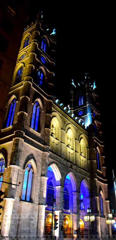 Basilica ata night with blue lighting