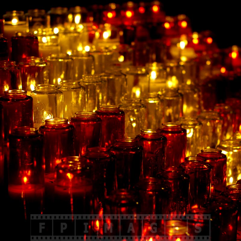 White and red candles in the church