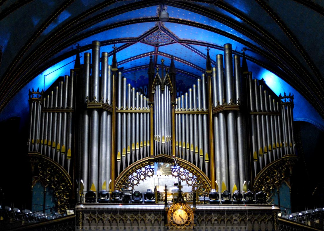 Pipes of the organ and blue ceiling