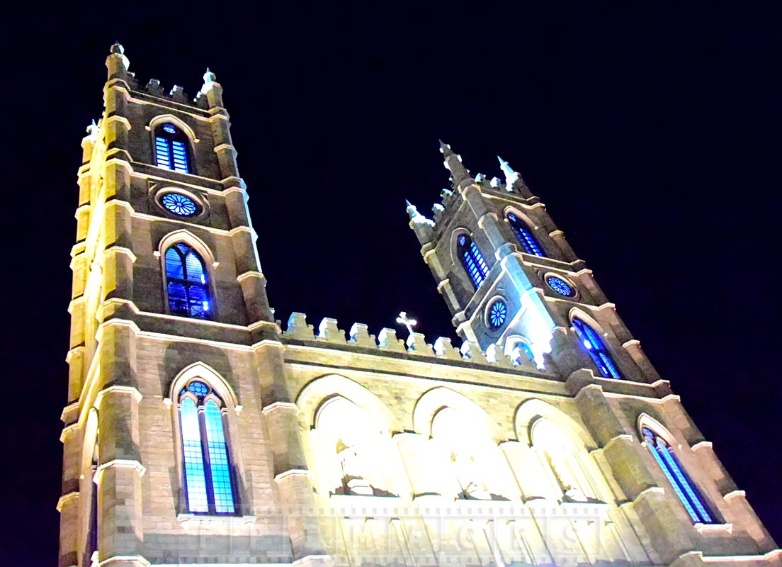 Notre-Dame Basilica of Montreal at night
