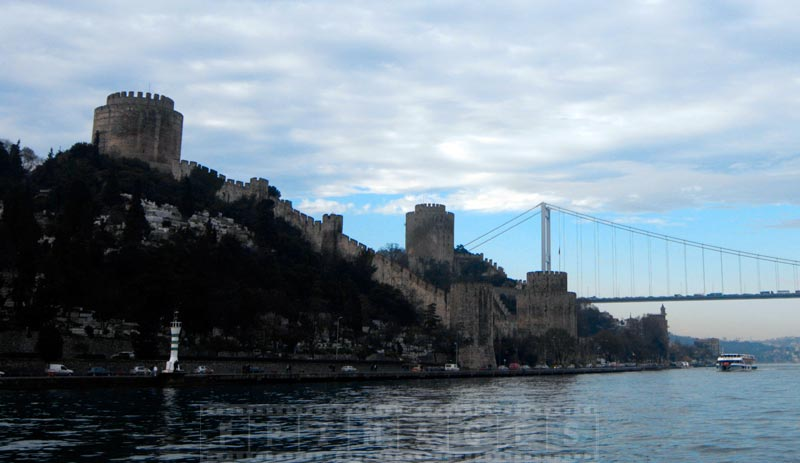 Old stone fortifications and second bridge across Bosphorus