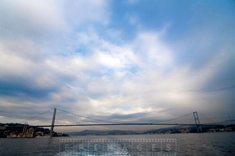 First Bosphorus suspension bridge and beautiful skies
