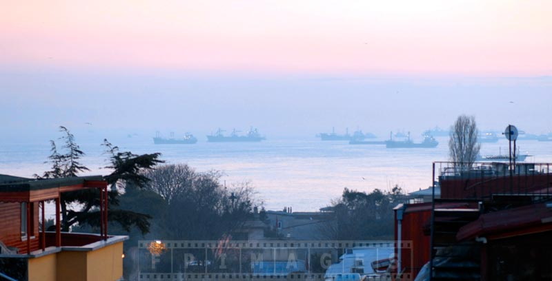 Ships waiting to enter the strait