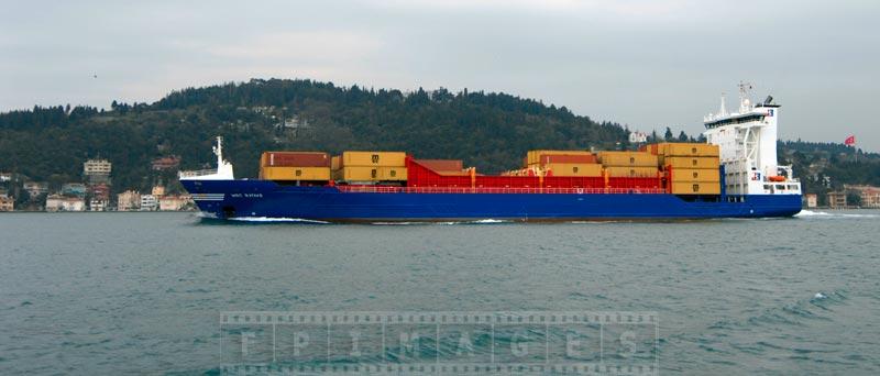Container ship sailing in Bosphorus