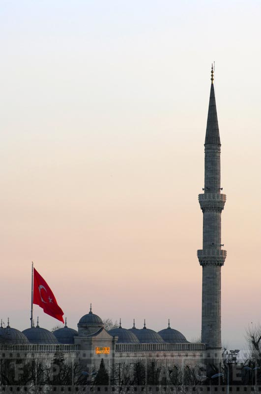 Minaret at the Sultan Ahmed mosque, sunset