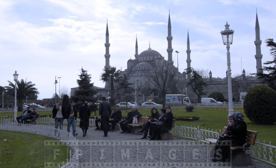 Istanbul city park near the Sultan Ahmet mosque