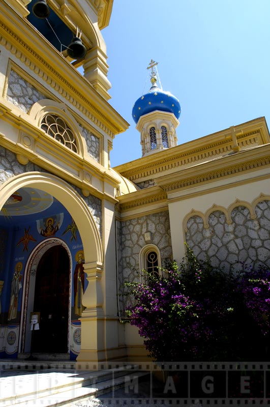 blue dome with a cross