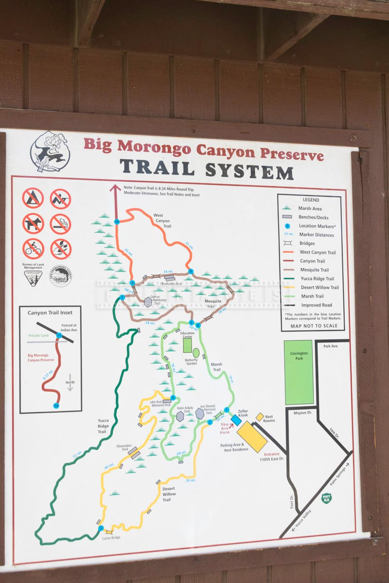 Hiking trails map of Morongo nature preserve