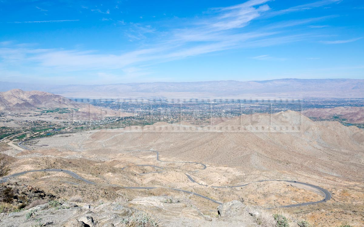 Byway 74 hairpin turns and view of Coachella Valley