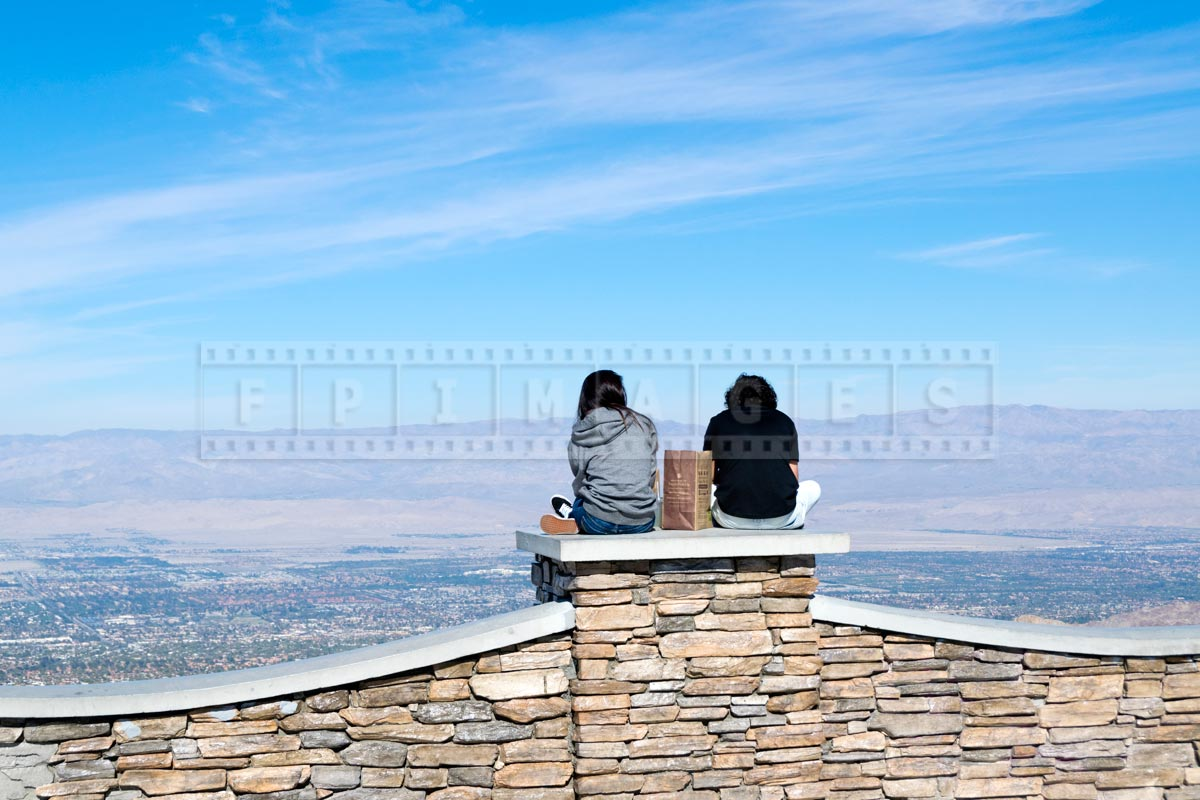 Young couple looking at beautiful Coachella Valley