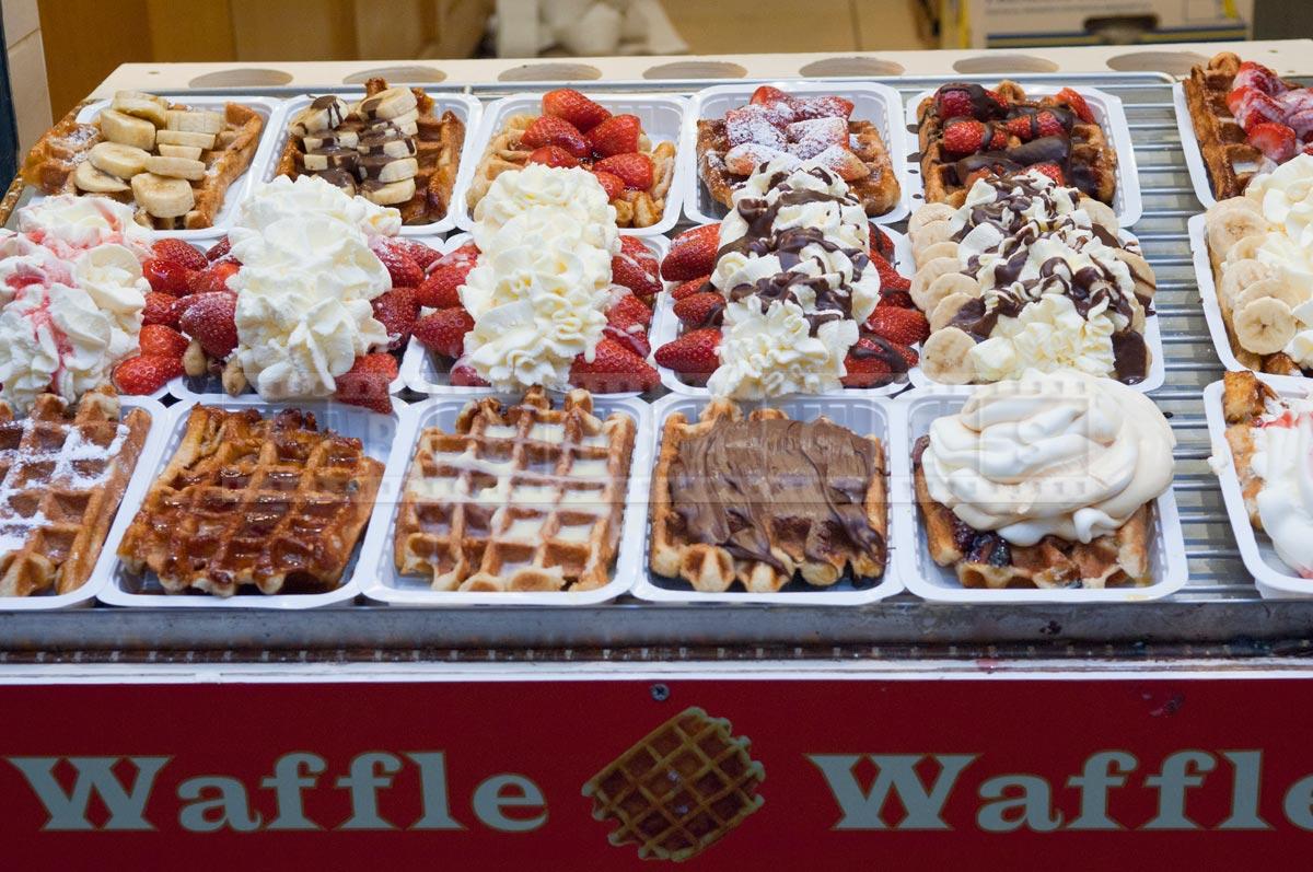 wide variety of Belgian waffles at street vendor display