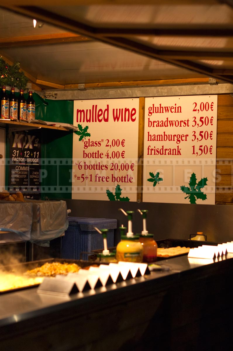 prices for mulled wine at street vendor in Belgium