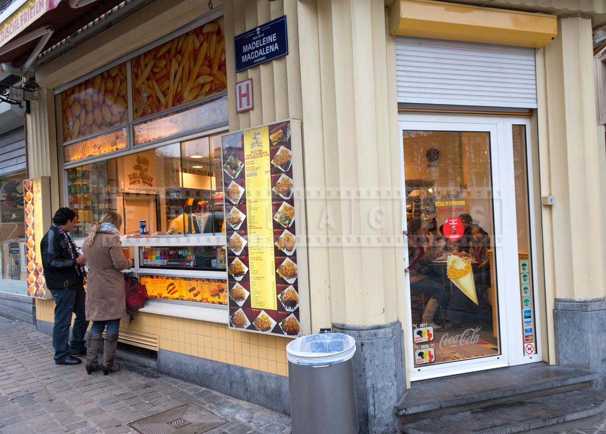 typical street food shop in Belgium