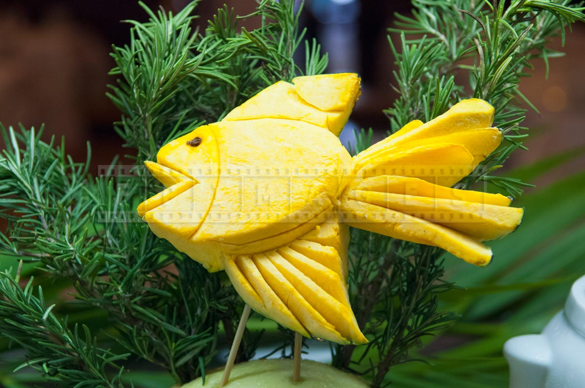 Tropical fish carved out of squash
