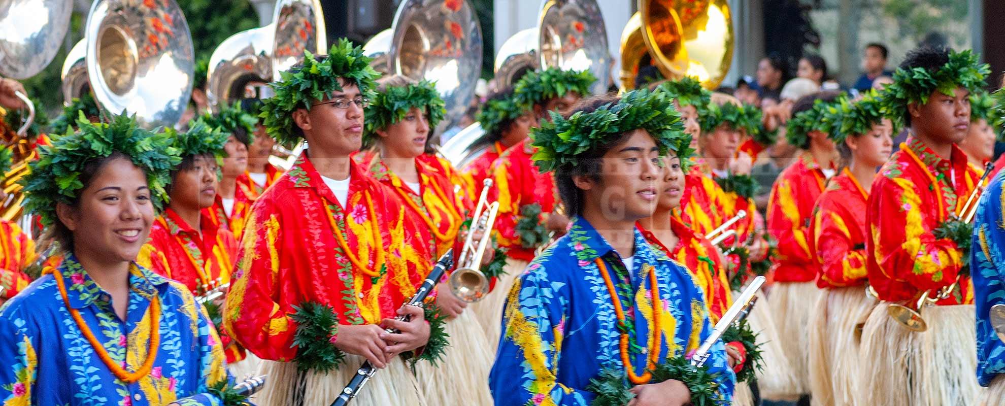 Hawaiian Marching Brass band at Rose parade