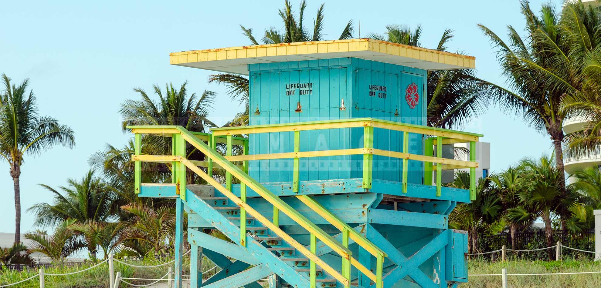 miami beach light blue lifeguard tower
