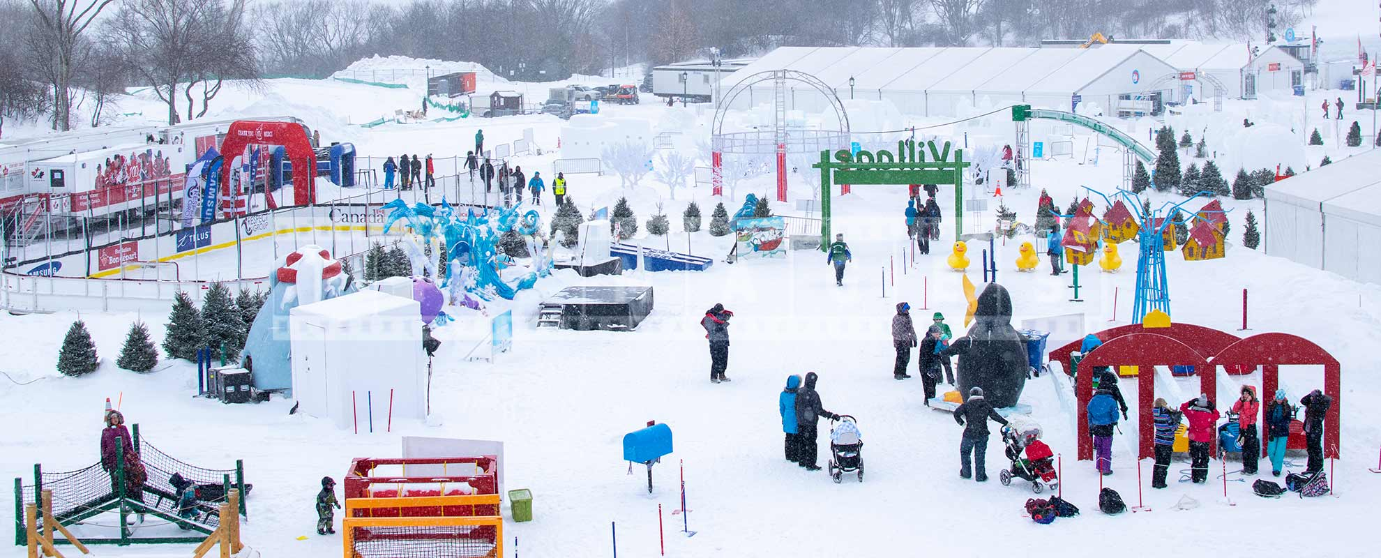 snow covered grounds of Quebec bonhomme winterland festival