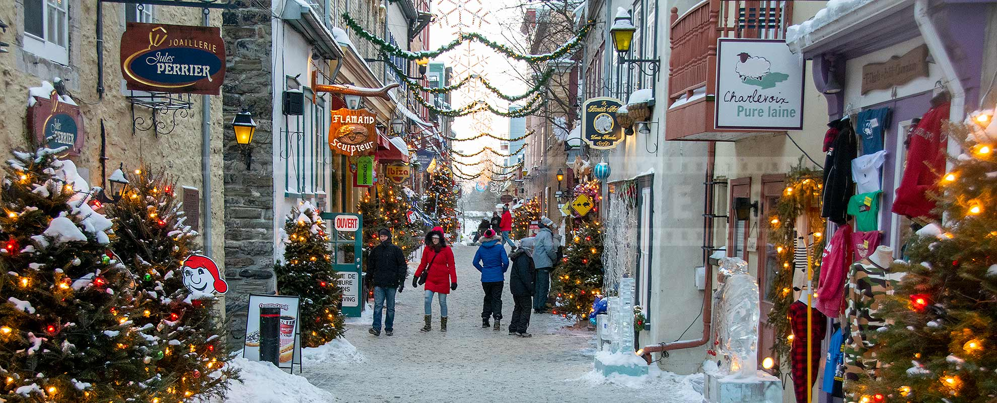 Pretty winter street in old Quebec city