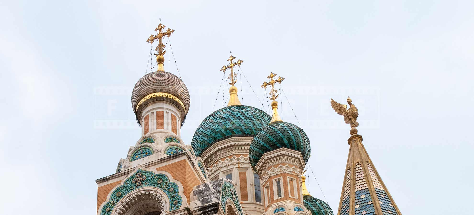 Crosses and domes of St Nicholas orthodox cathedral