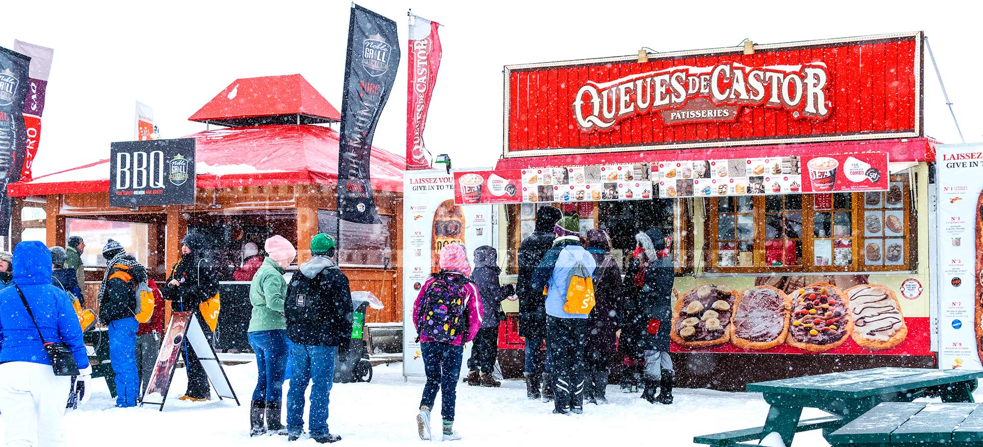 Line ups in winter to street food kiosks - barbecue and beaver tails