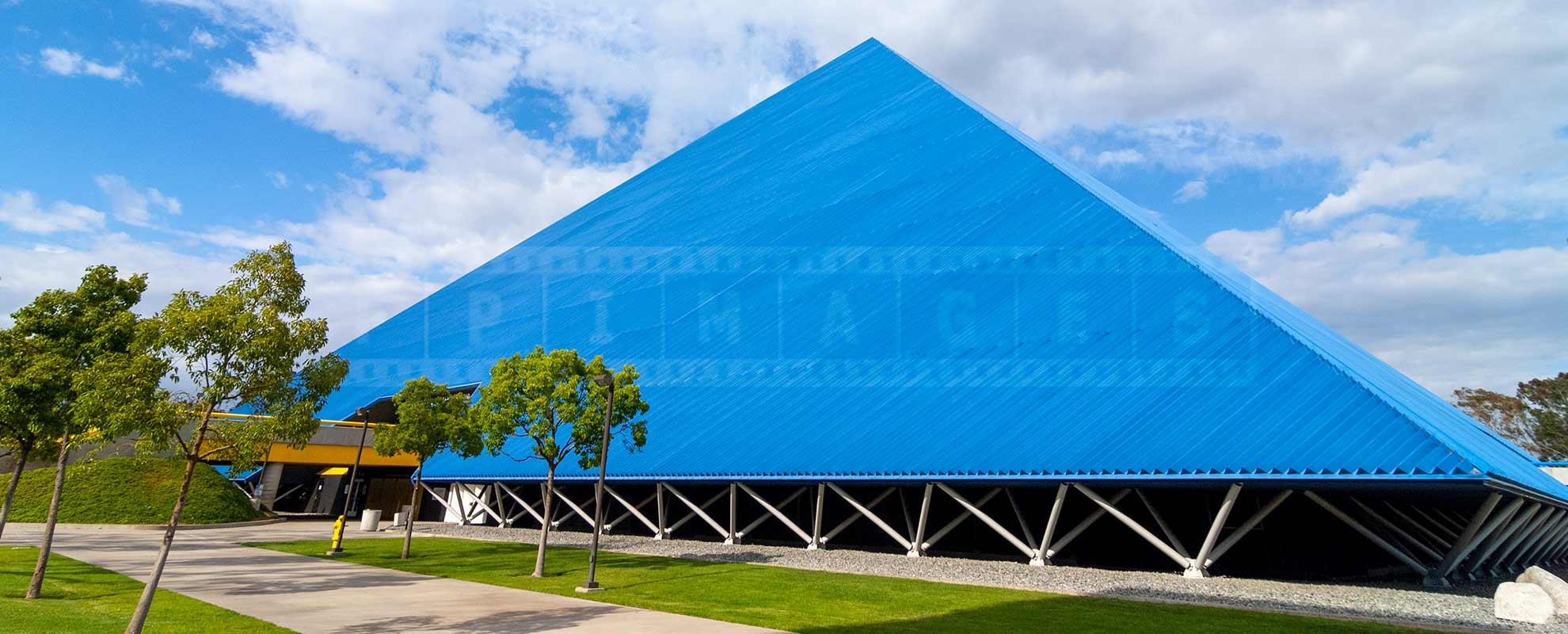 Cobalt blue pyramid and beautiful grounds