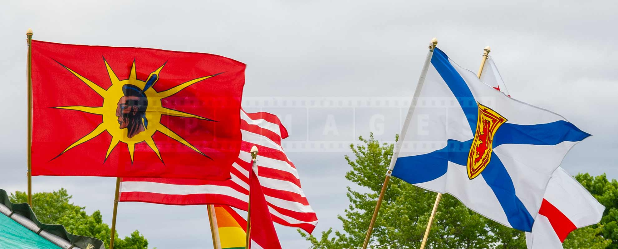 Micmaq red and yellow flag at annual pow wow in Nova Scotia