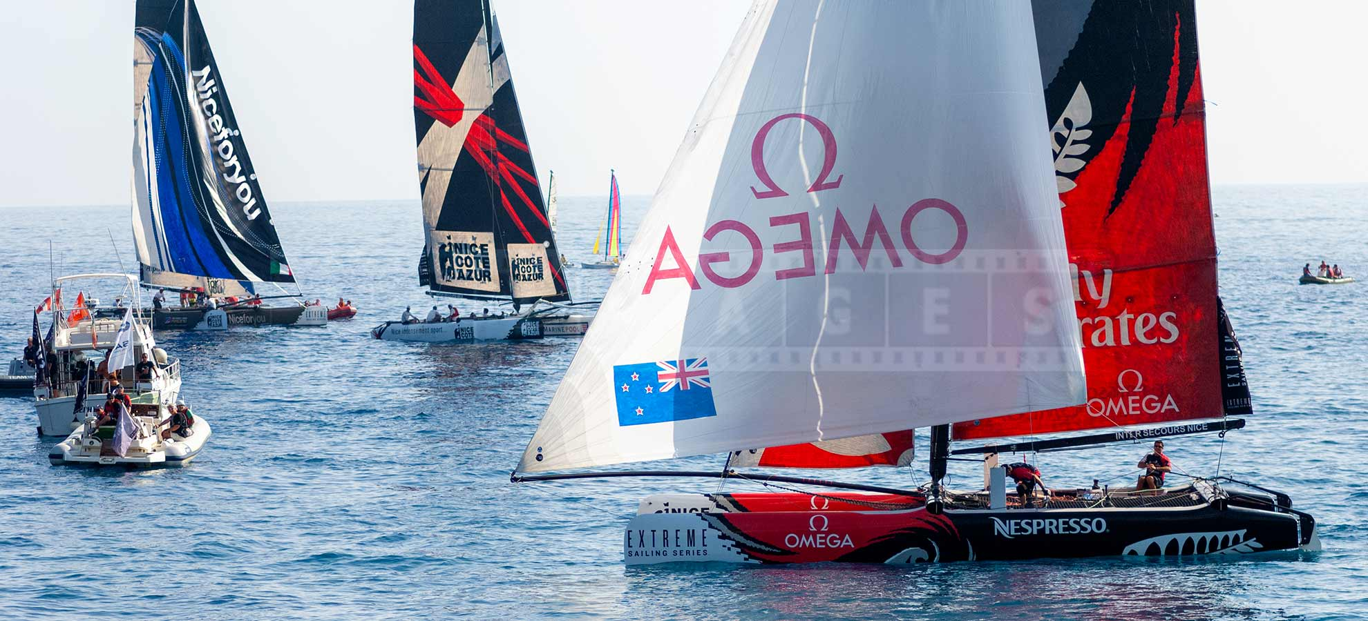 Extreme sailing boats racing in Nice, France