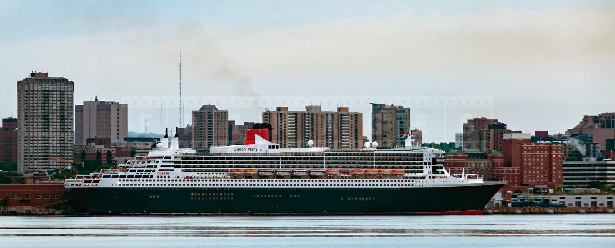 Cunard's Queen Mary 2 docked at pier 22 in Halifax, NS, Canada