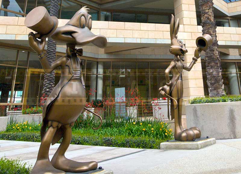 Donald Duck and Bugs Bunny figures in Burbank WB office