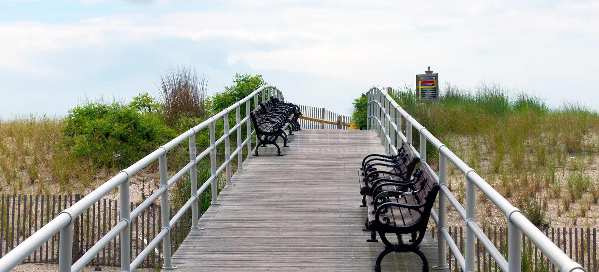 wooden bridge accross the sandy dunes in Atlantic City