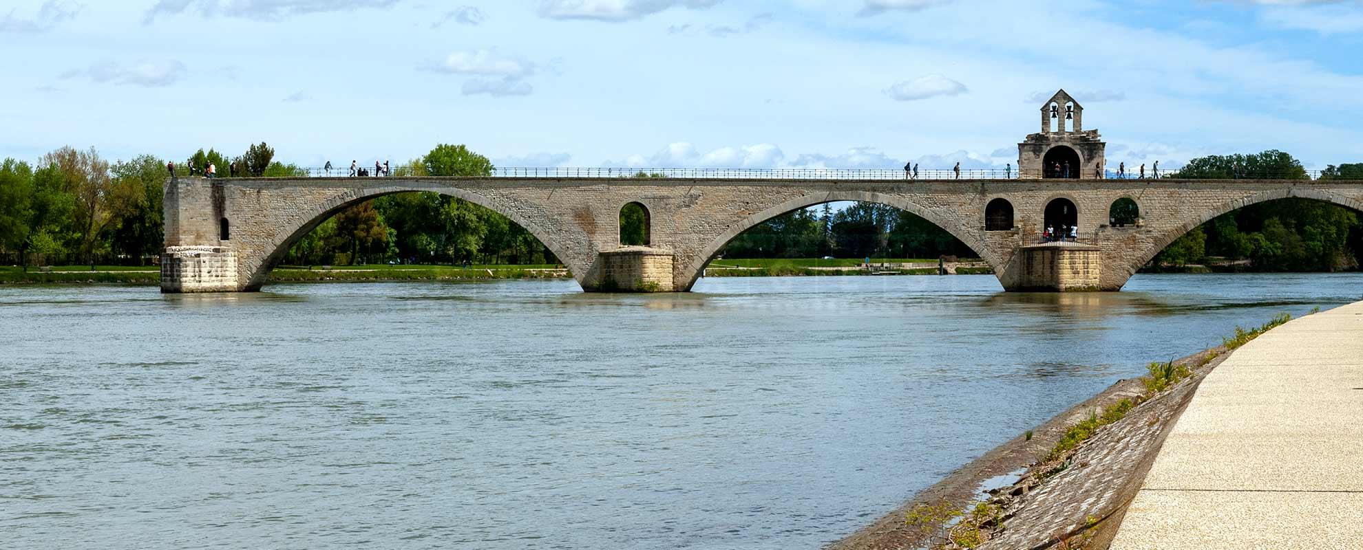 Avignon Papal Bridge and the river Rhone