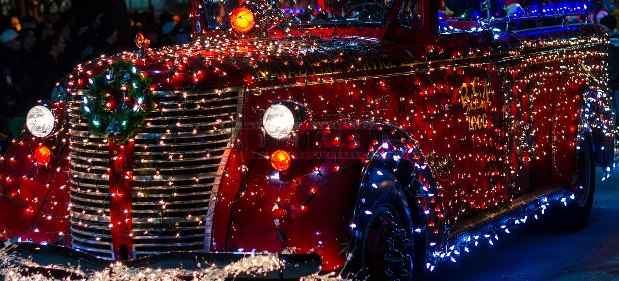 Amazing Christmas decorations of a fire truck at the parade